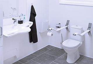 Baderumsløsning med support vask - Handicapvenligt